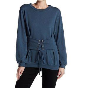 Lush Dark Slate Corset Lace-Up Cuffed Sweater